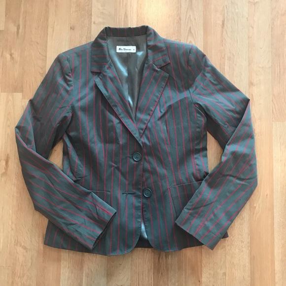 Ben Sherman Mens Two Button Slim Fit Cotton Diamond Knit Sportcoat